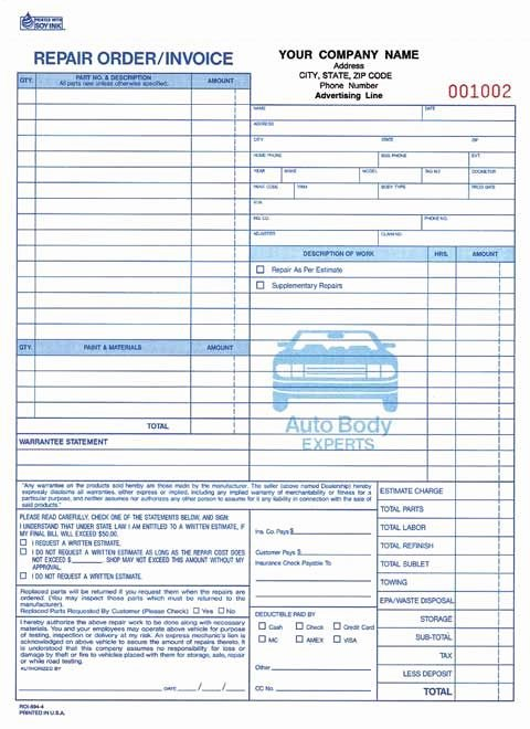 4 Part Auto Repair order Invoice