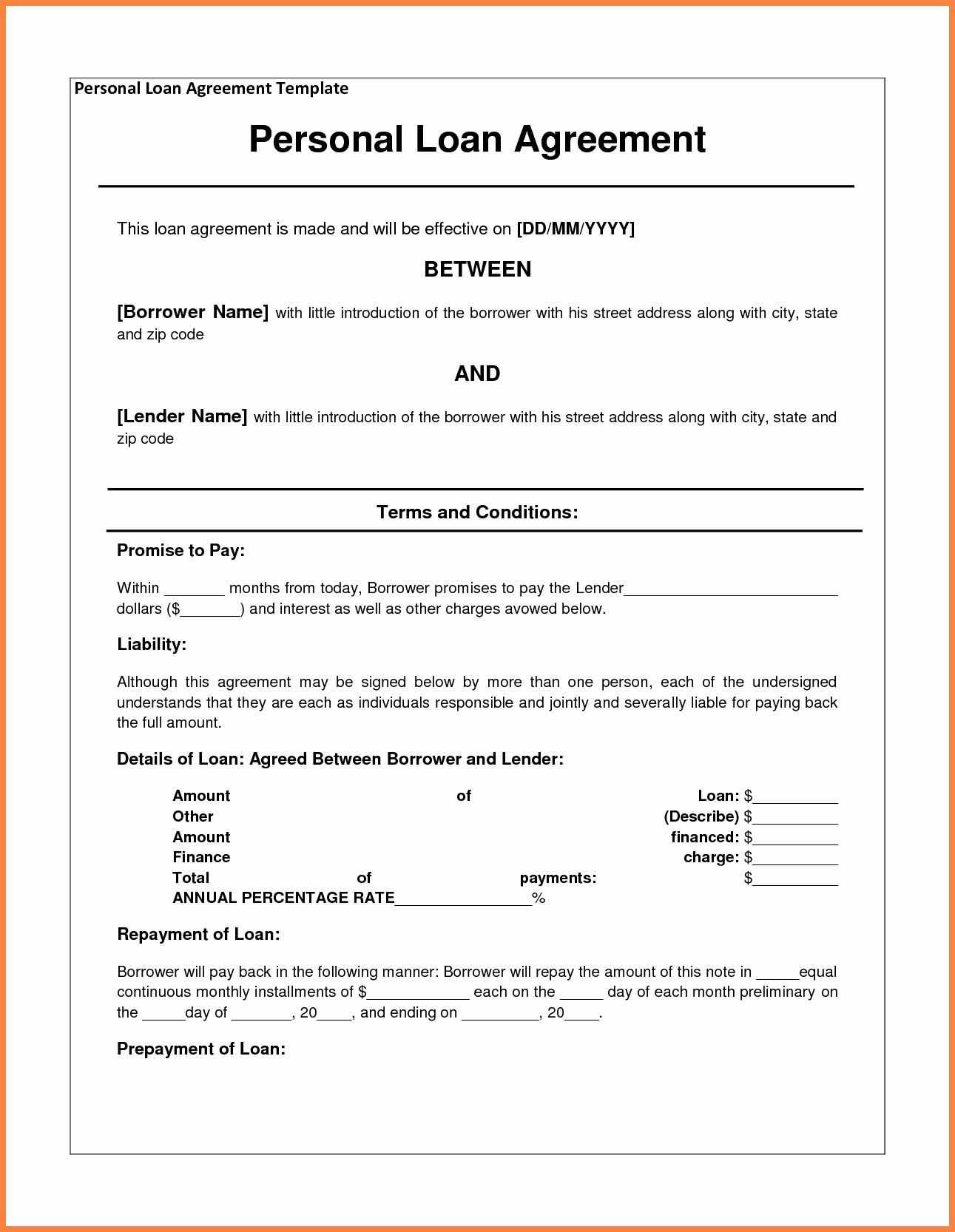 4 Personal Loan Agreement Template Between Friends