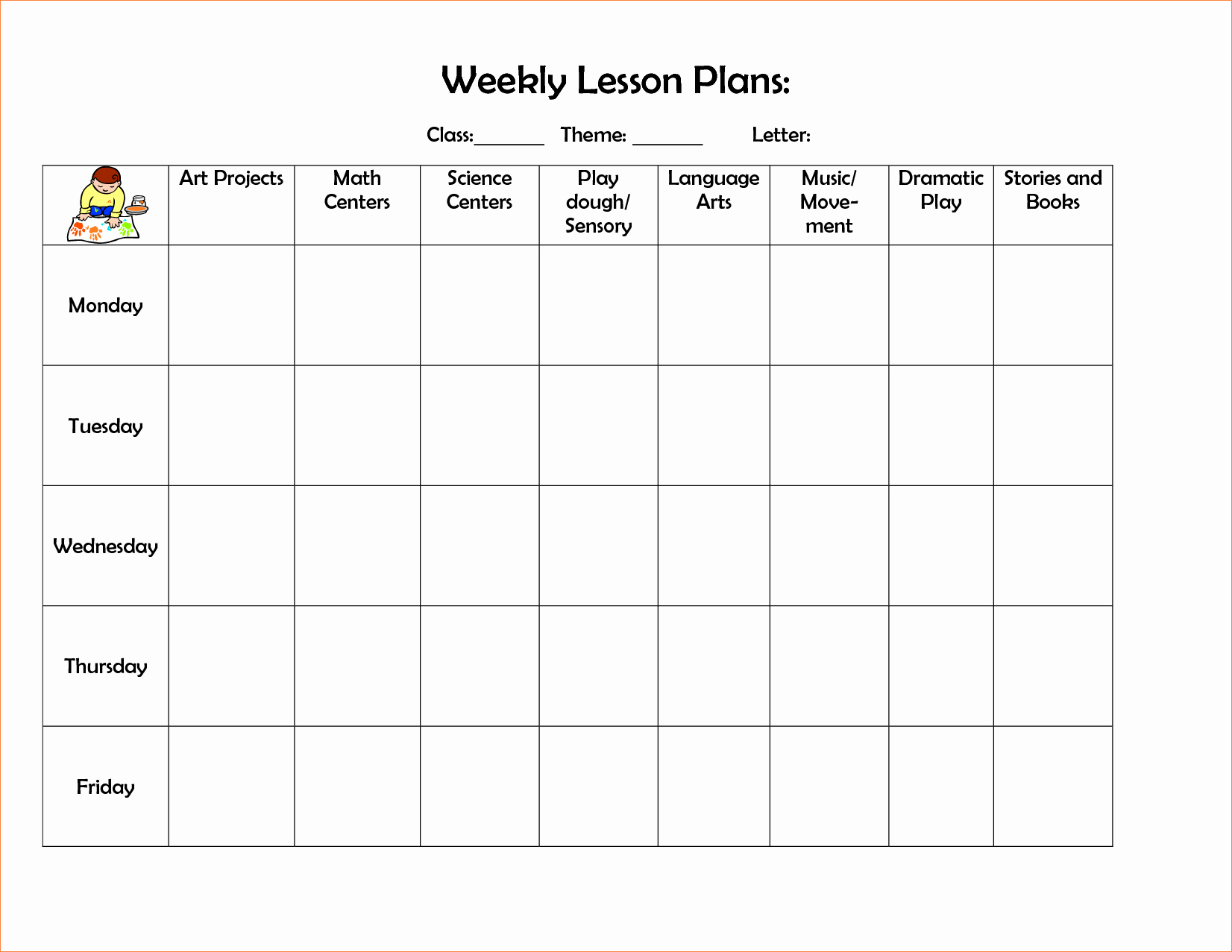 4 Preschool Weekly Lesson Plan Templatereport Template