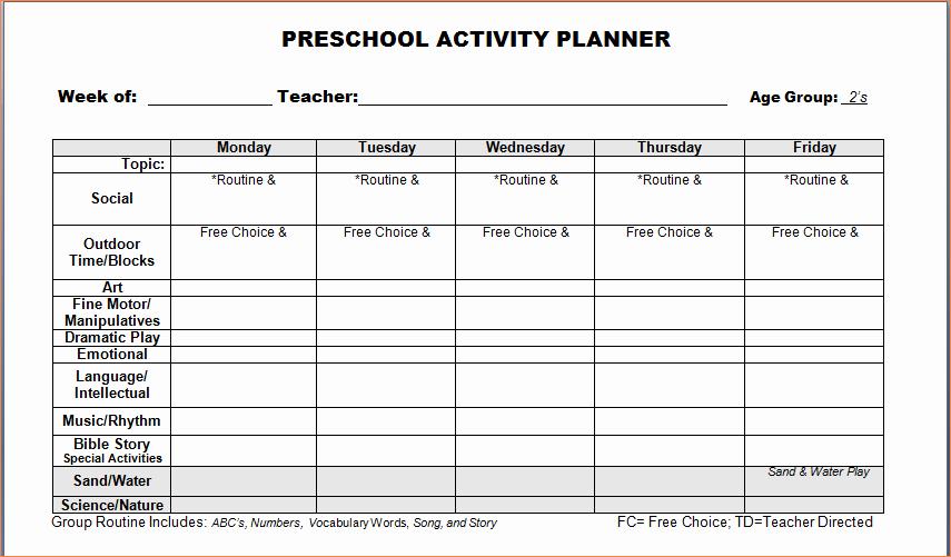 4 Preschool Weekly Lesson Plan Templatereport Template