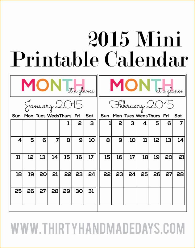 4 Printable Pocket Calendar