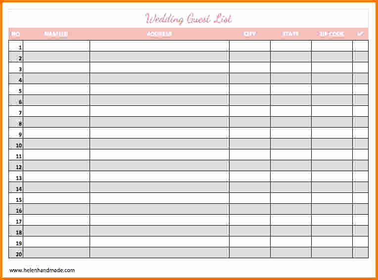 4 Printable Wedding Guest List