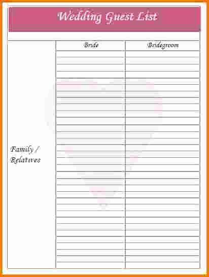 4 Printable Wedding Guest List Template