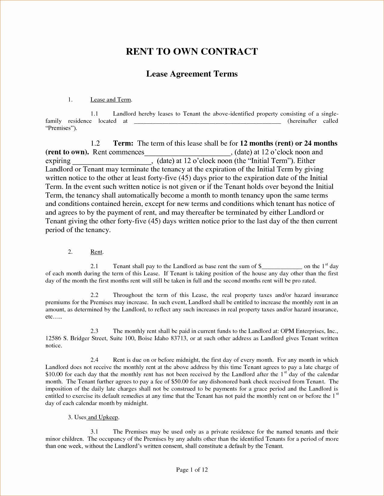 4 Rent to Own Agreement Templatereport Template Document