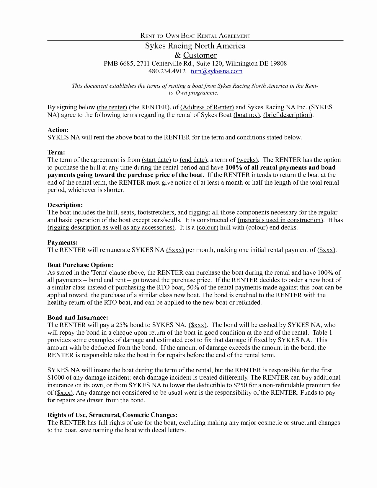 4 Rent to Own Contract Templatereport Template Document