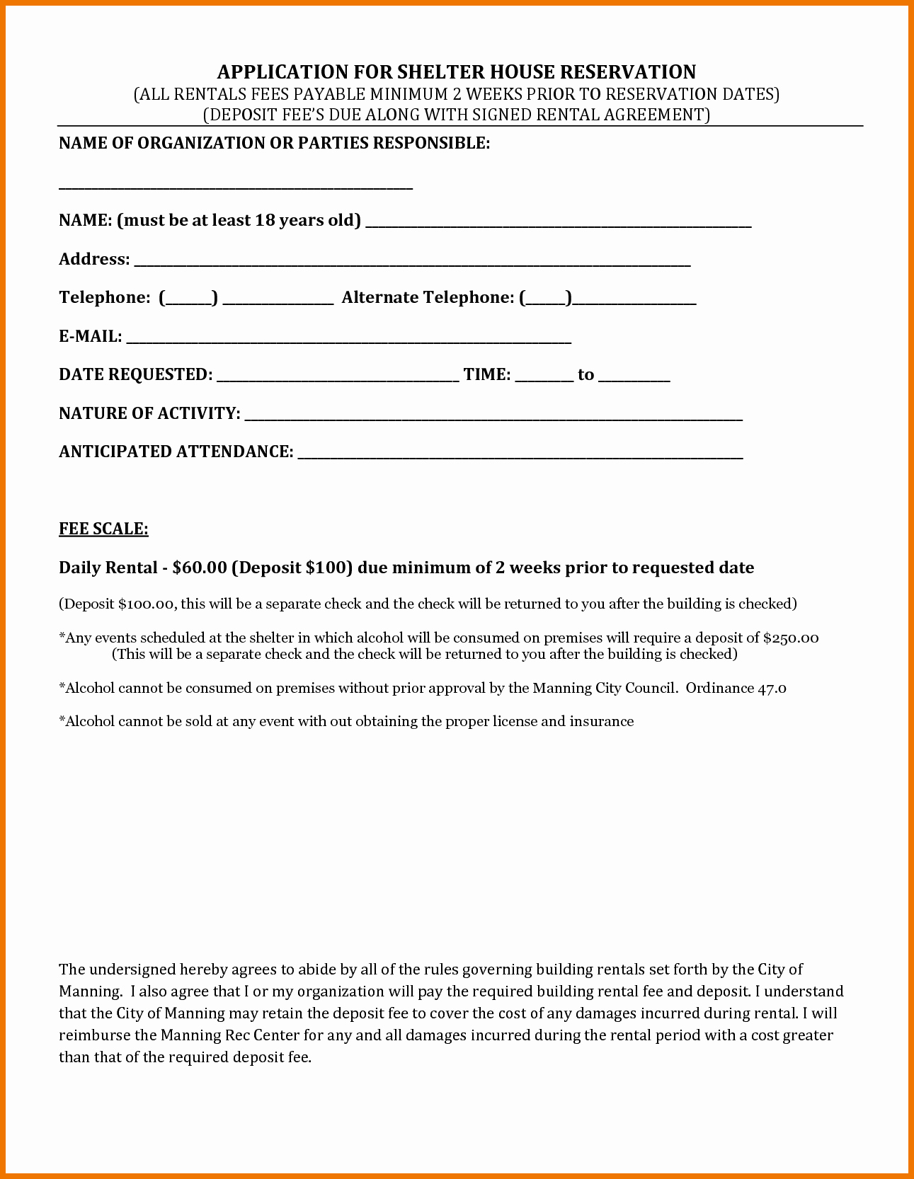 4 Rental House Agreement Itinerary Template Sample