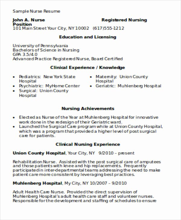 4 Sample Graduate Nurse Resumes
