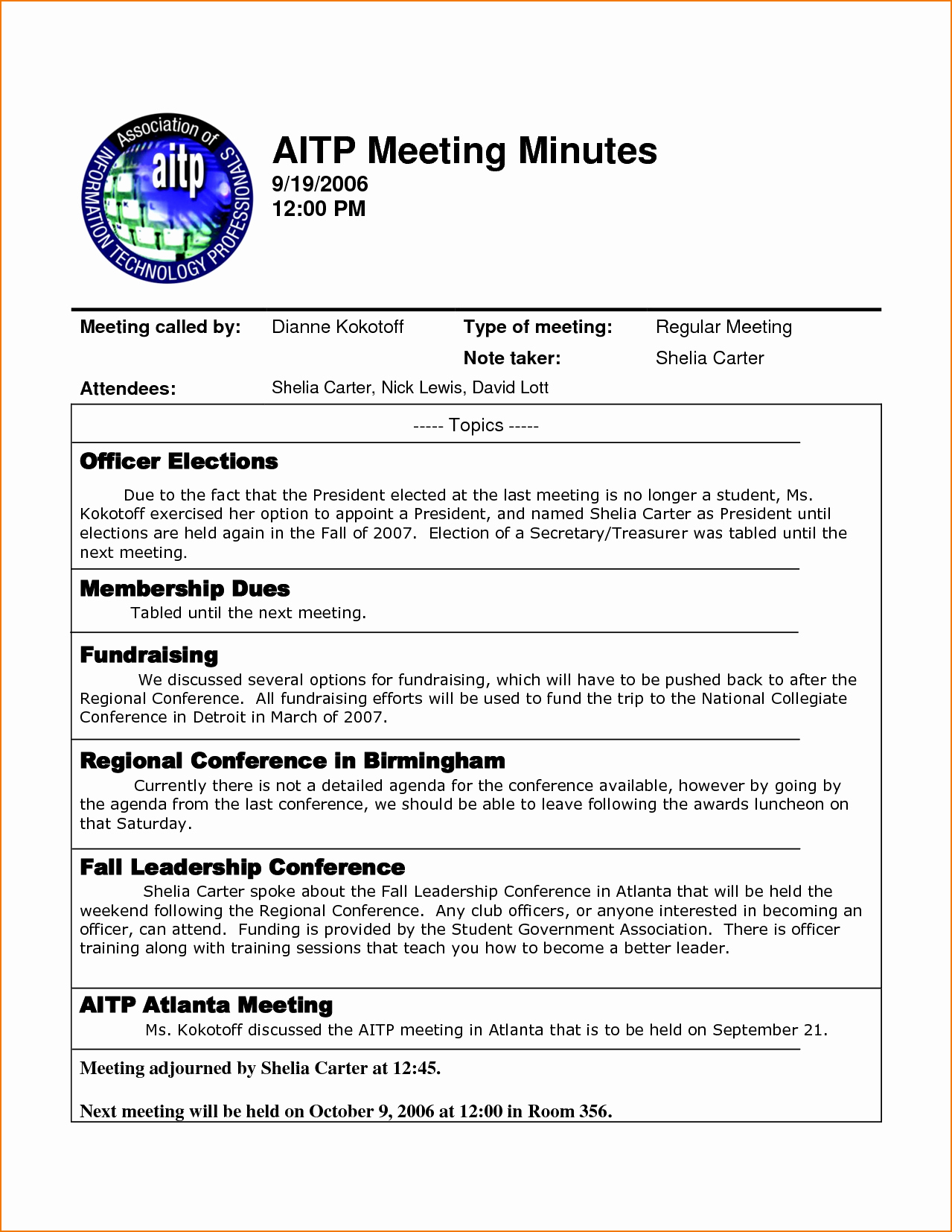 4 Sample Meeting Minutes Template
