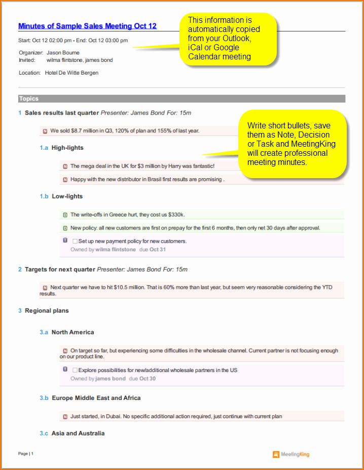 4 Sample Meeting Minutes Template