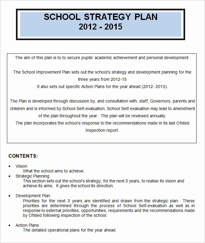 4 Sample School Strategic Plan Templates Doc Pdf