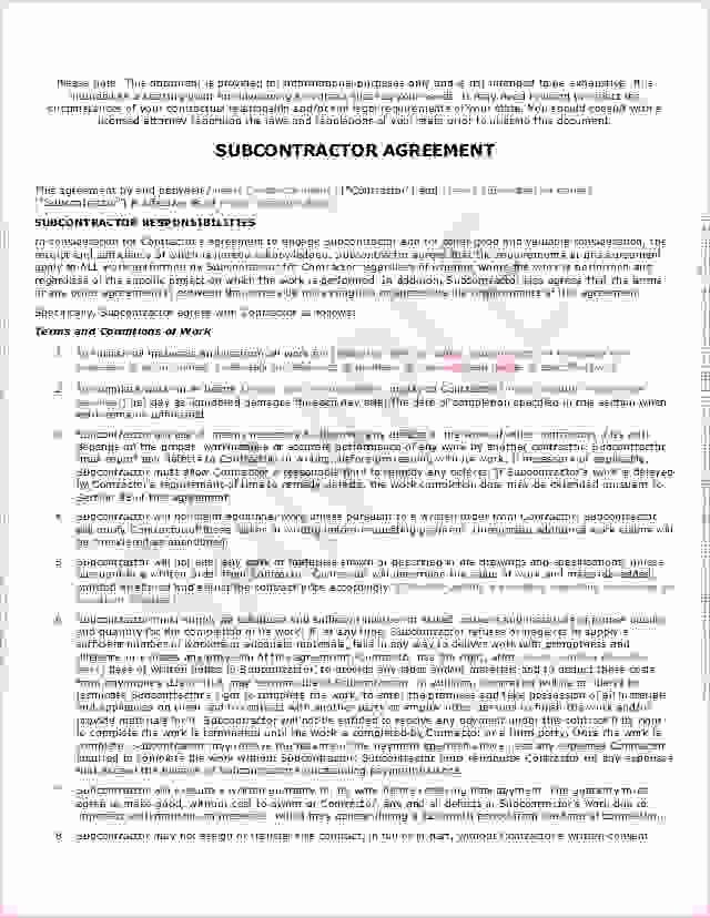4 Sample Subcontractor Agreementreport Template Document