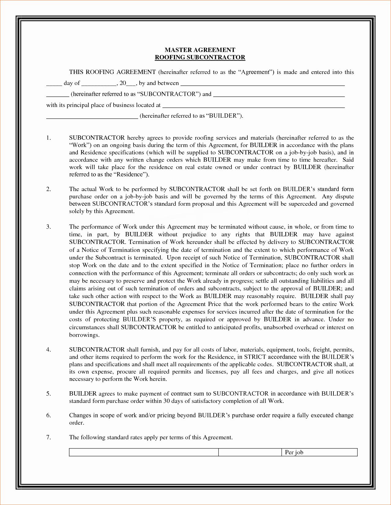 4 Sample Subcontractor Agreementreport Template Document