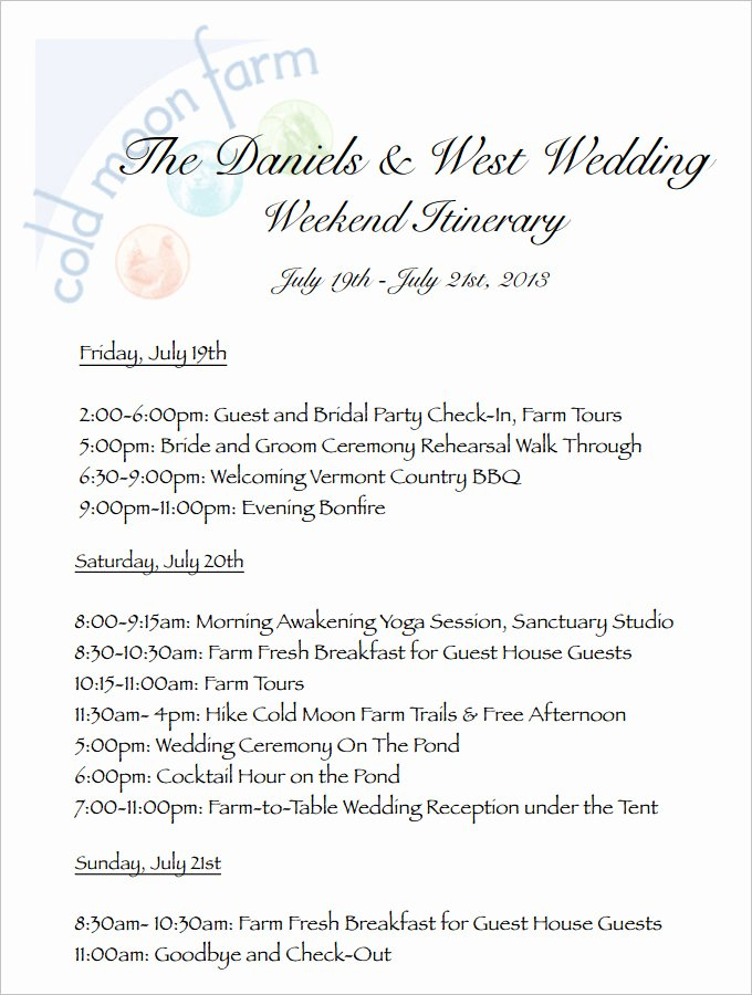 4 Sample Wedding Weekend Itinerary Templates Doc Pdf