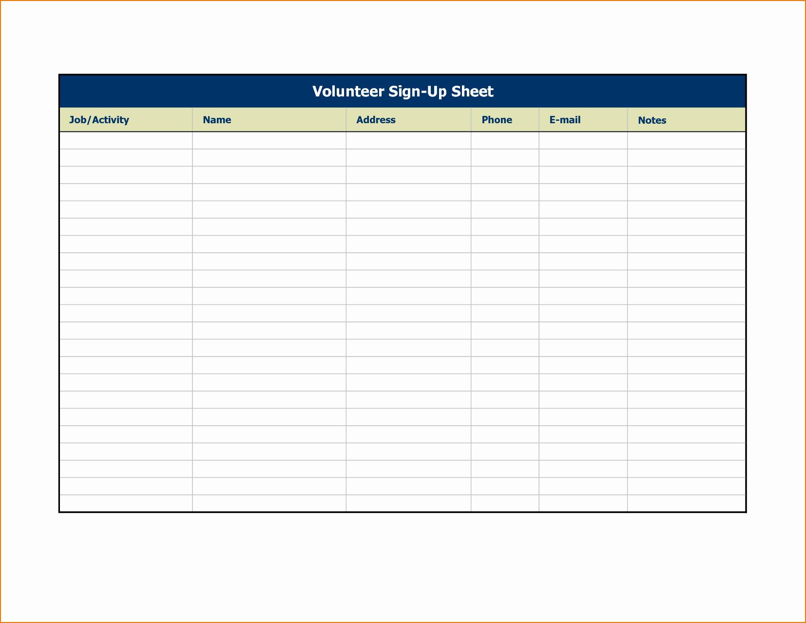 4 Sign Up Sheet Templates