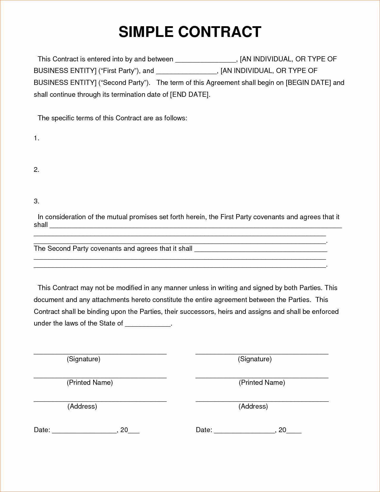 4 Simple Contract Templatereport Template Document