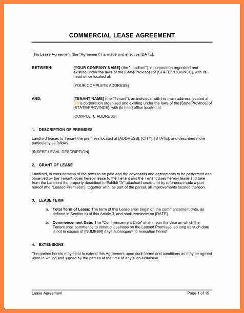 4 Simple Mercial Lease Agreement Template