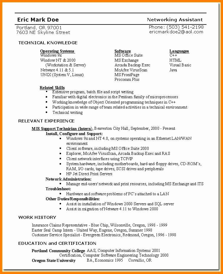 4 Skills Based Resume Template Word