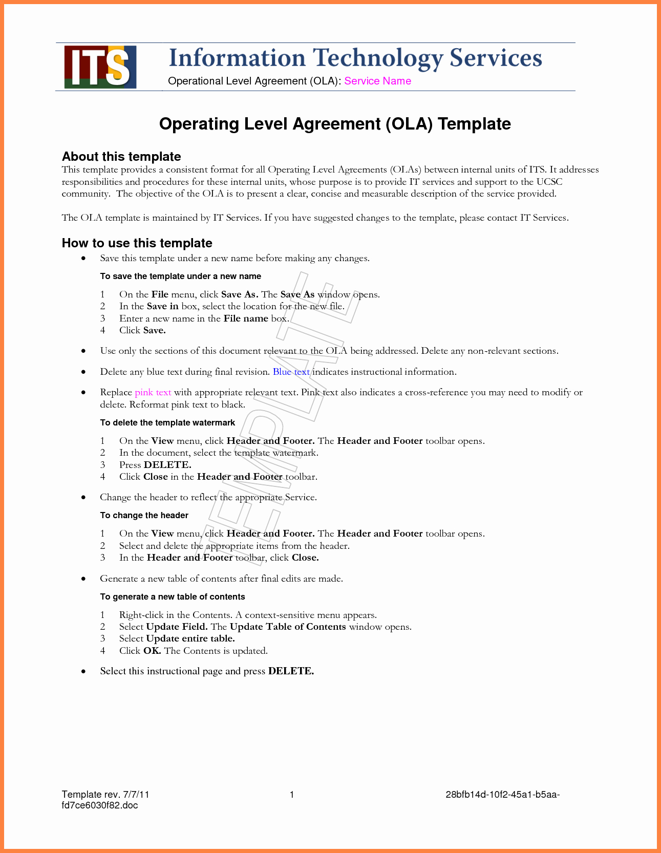 4 Standard Service Level Agreement Template