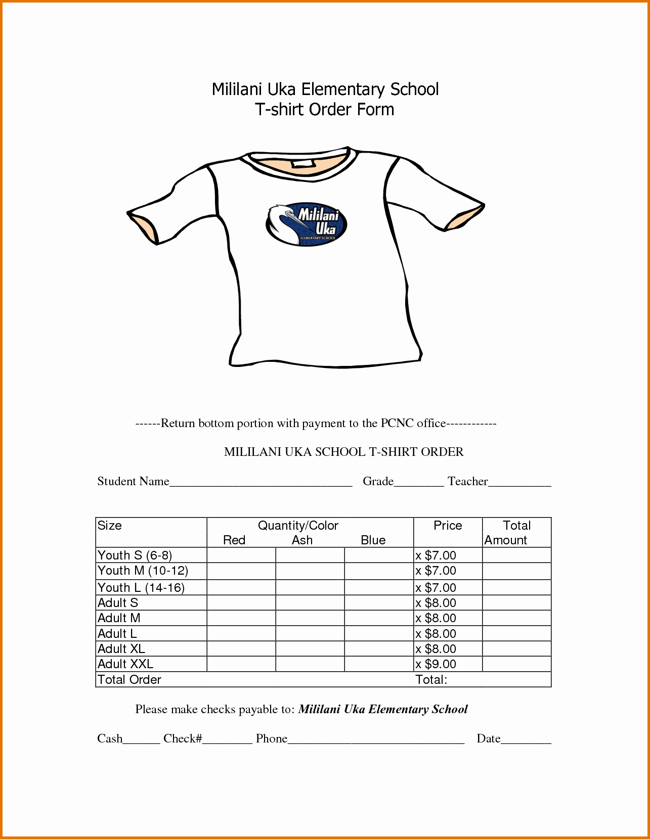 4 T Shirt order form Template Freereference Letters Words