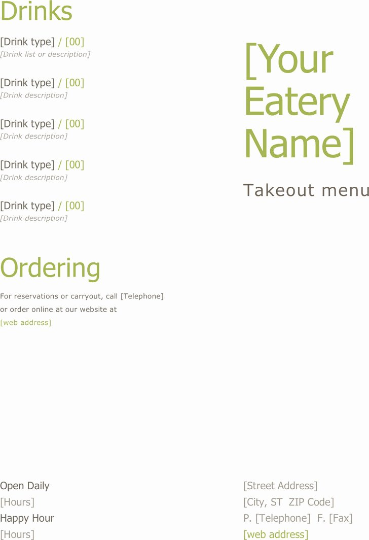 4 Takeout Menu Template Free Download