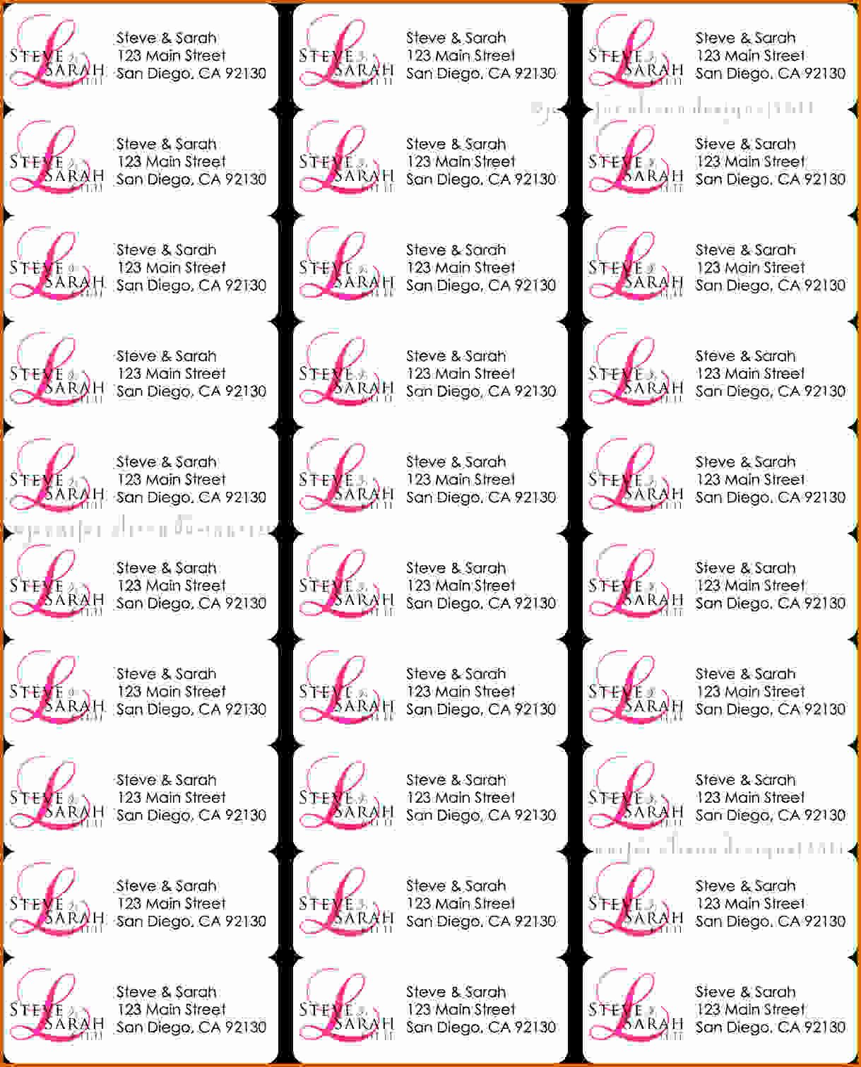 4 Template for Address Labels 30 Per Sheet