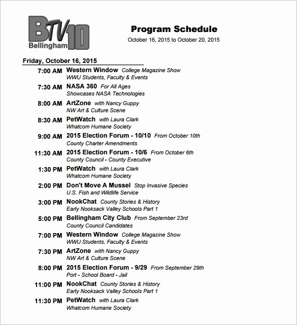 4 Tv Programs Schedule Templates Excel Xlts