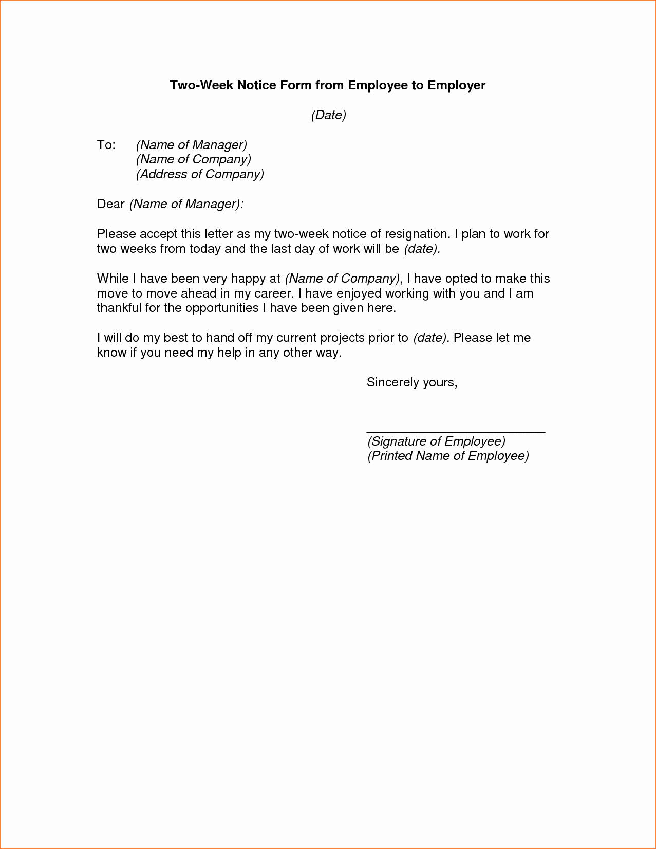 4 Two Week Notice Letter Examplereport Template Document