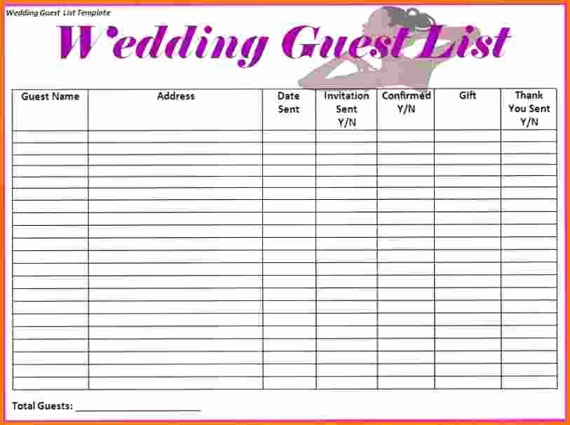 4 Wedding Guest List Spreadsheet