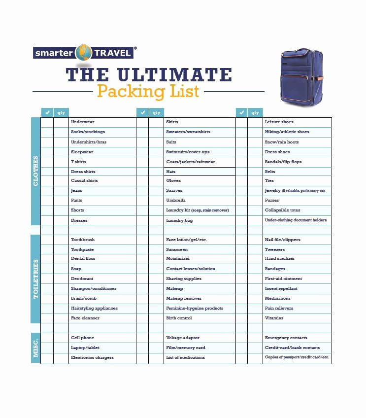 40 Awesome Printable Packing Lists College Cruise