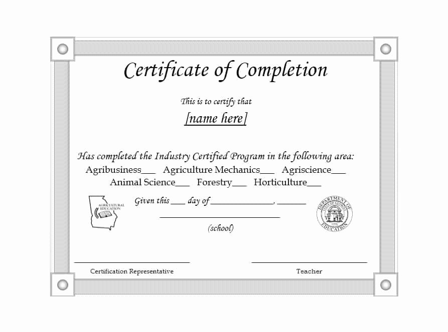 40 Fantastic Certificate Of Pletion Templates [word