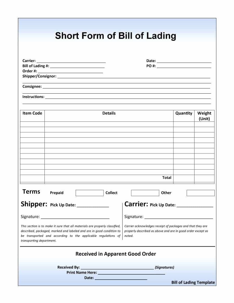 40 Free Bill Of Lading forms & Templates Template Lab