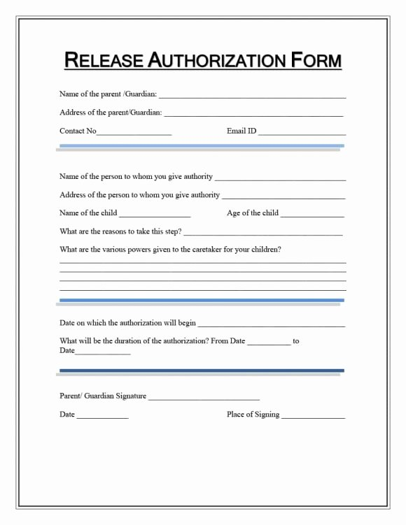 40 Medical Records Release form Release Of Information