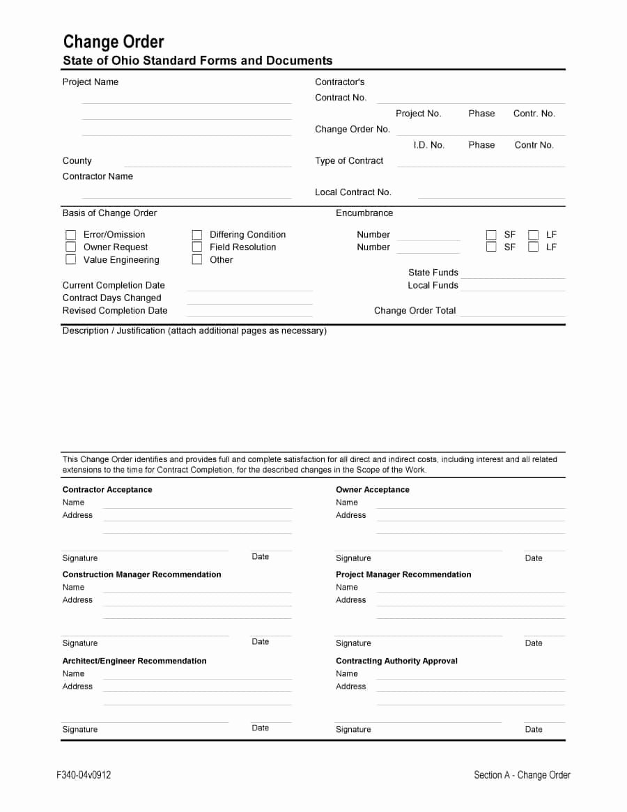 40 order form Templates [work order Change order More]