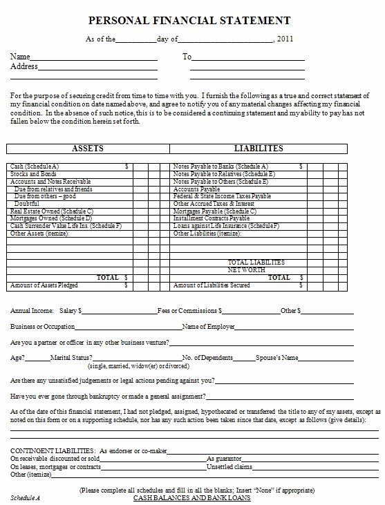40 Personal Financial Statement Templates & forms
