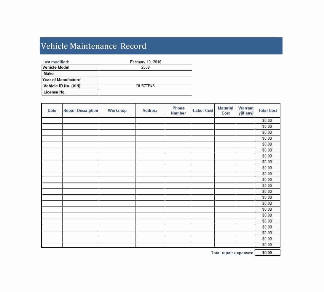 40 Printable Vehicle Maintenance Log Templates Template Lab