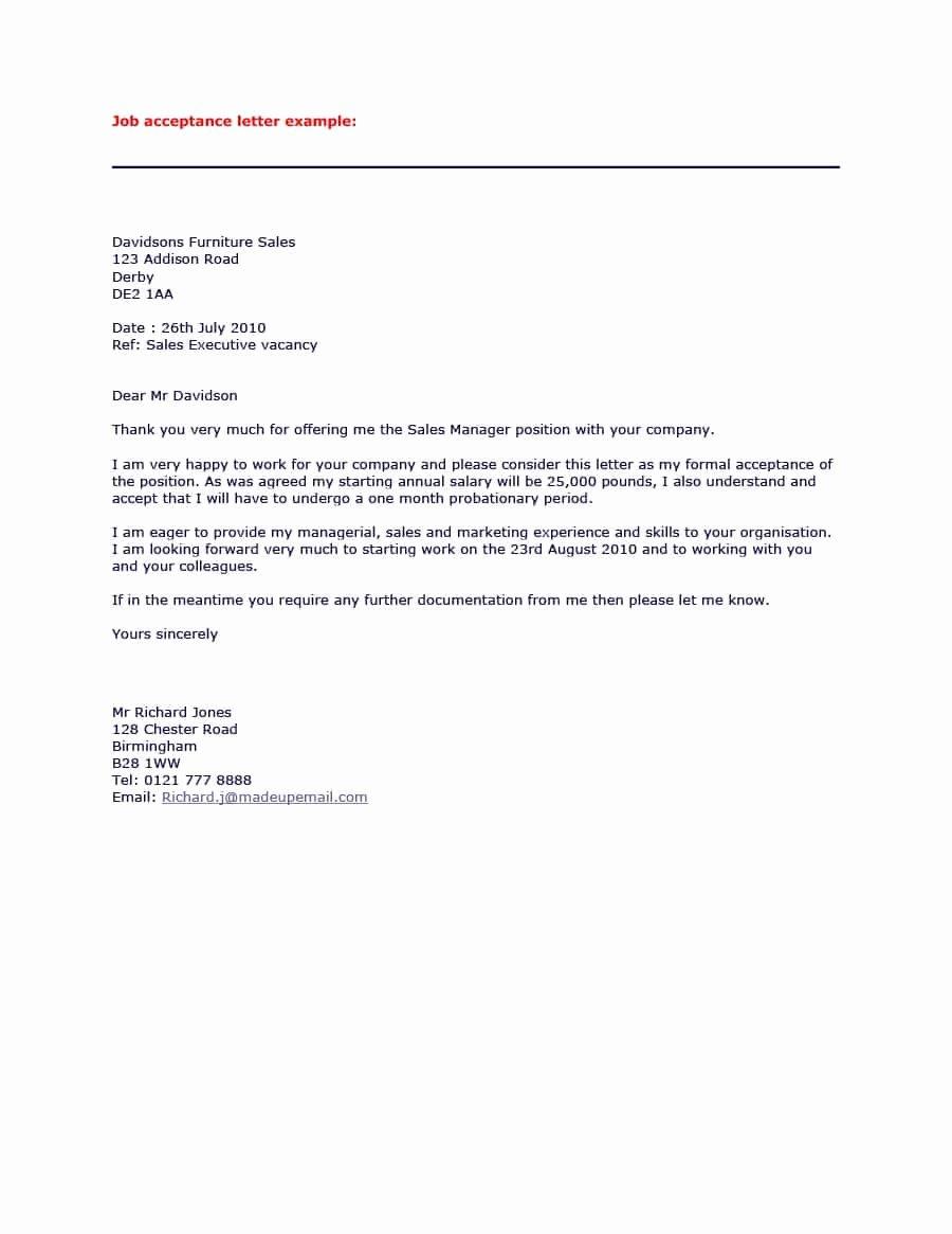 40 Professional Job Fer Acceptance Letter & Email