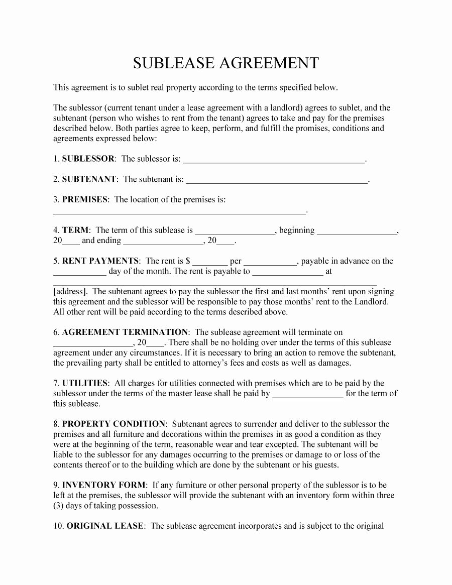 40 Professional Sublease Agreement Templates & forms