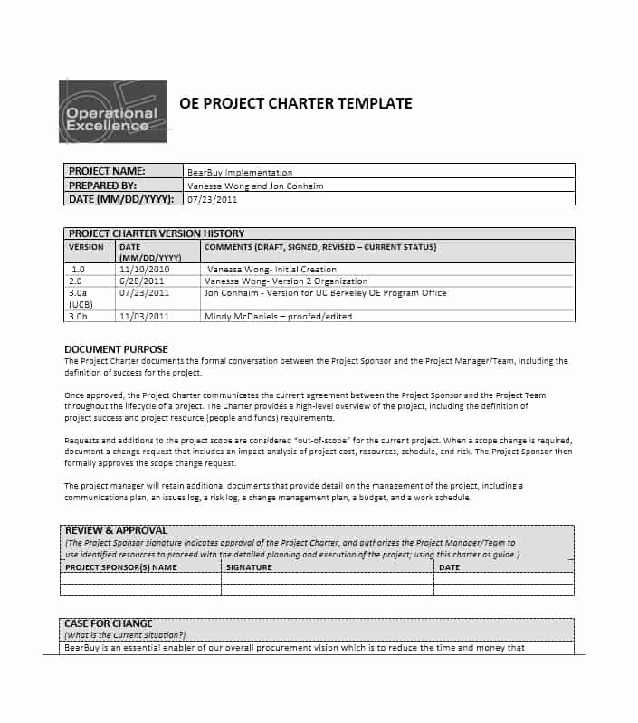 40 Project Charter Templates & Samples [excel Word