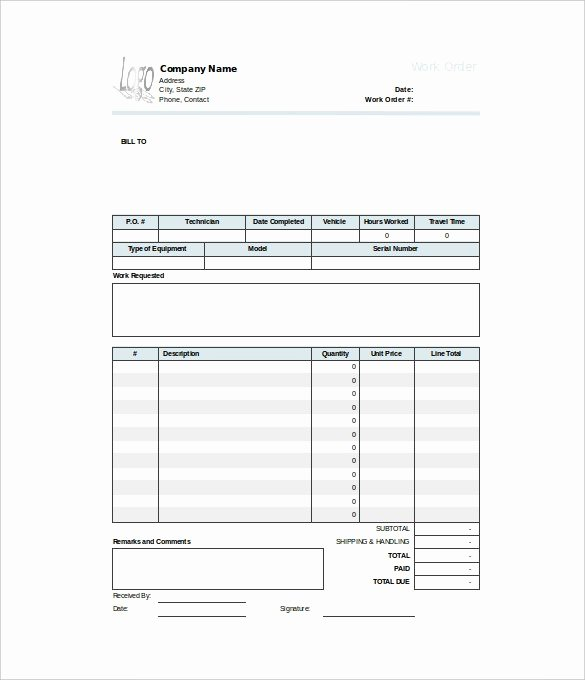 40 Work order Template Free Download [word Excel Pdf]