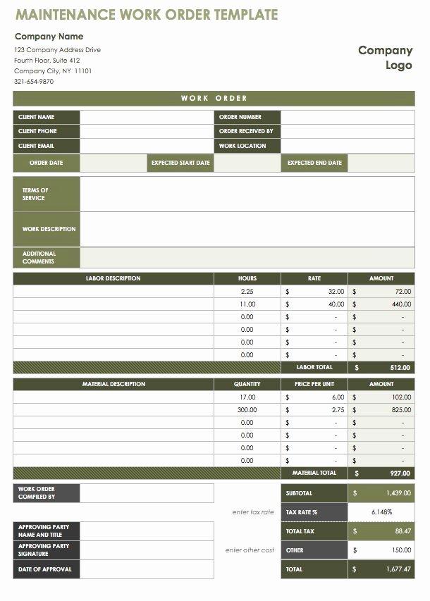 40 Work order Template Free Download [word Excel Pdf]