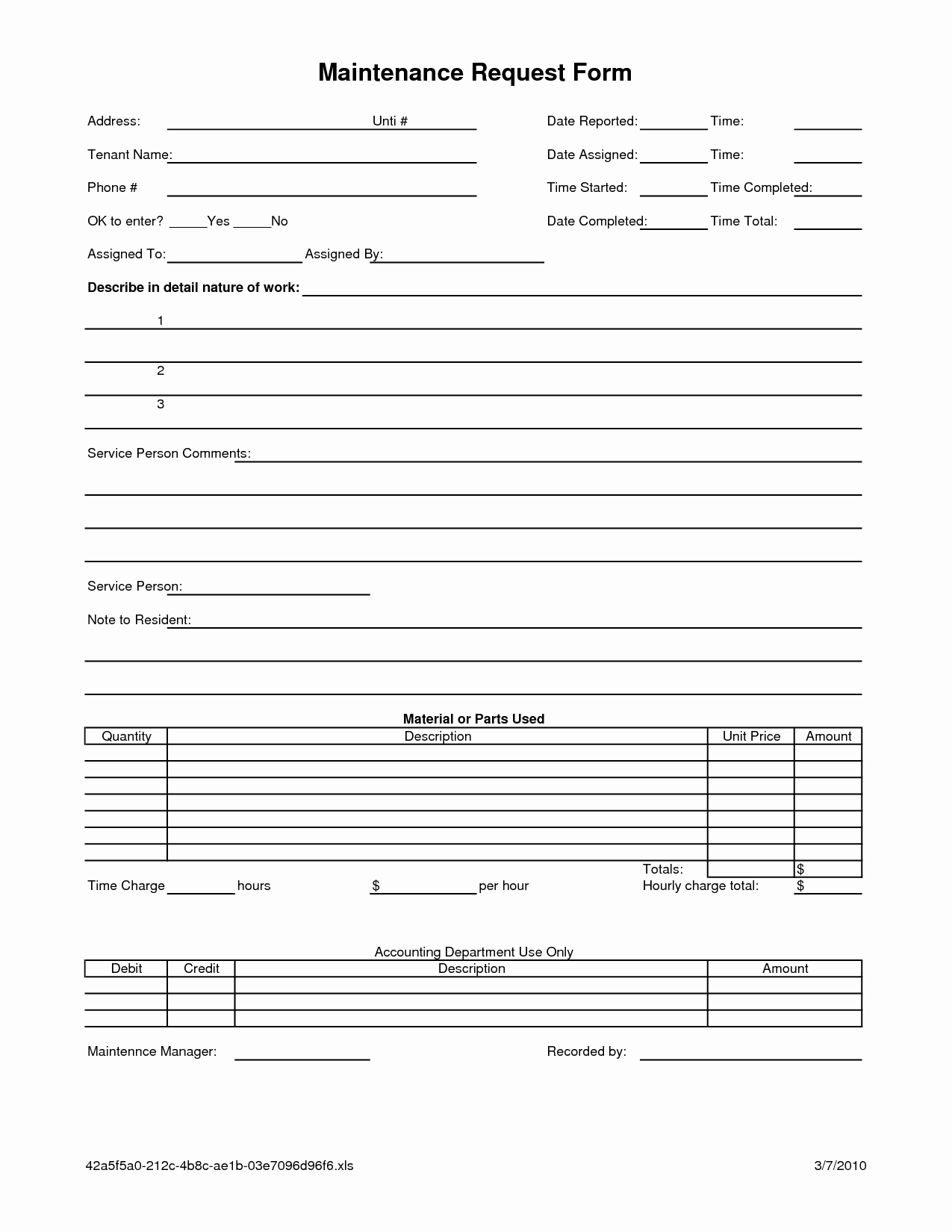 work request template excel