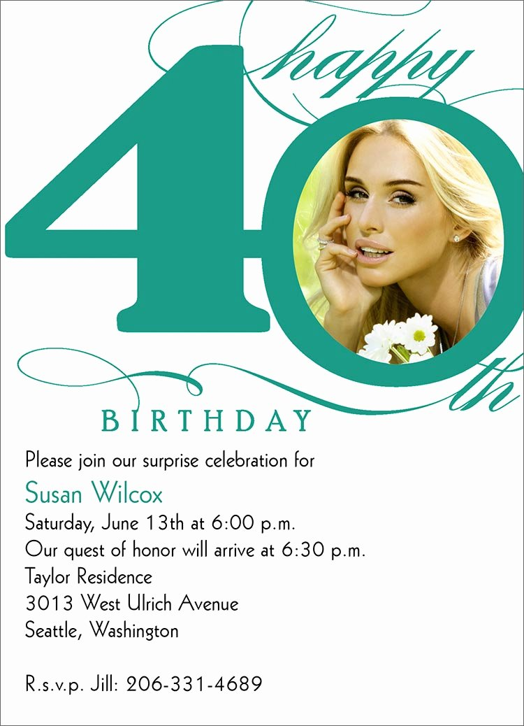 40th Birthday Invitation Wording – Bagvania Free Printable Invitation Template