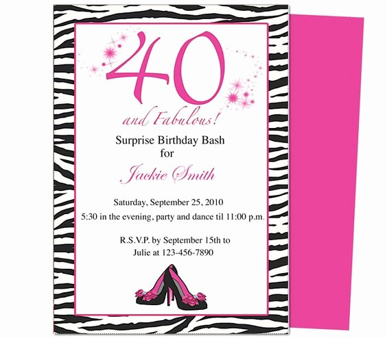 40th Birthday Invites Fabulous 40th Birthday Invitation