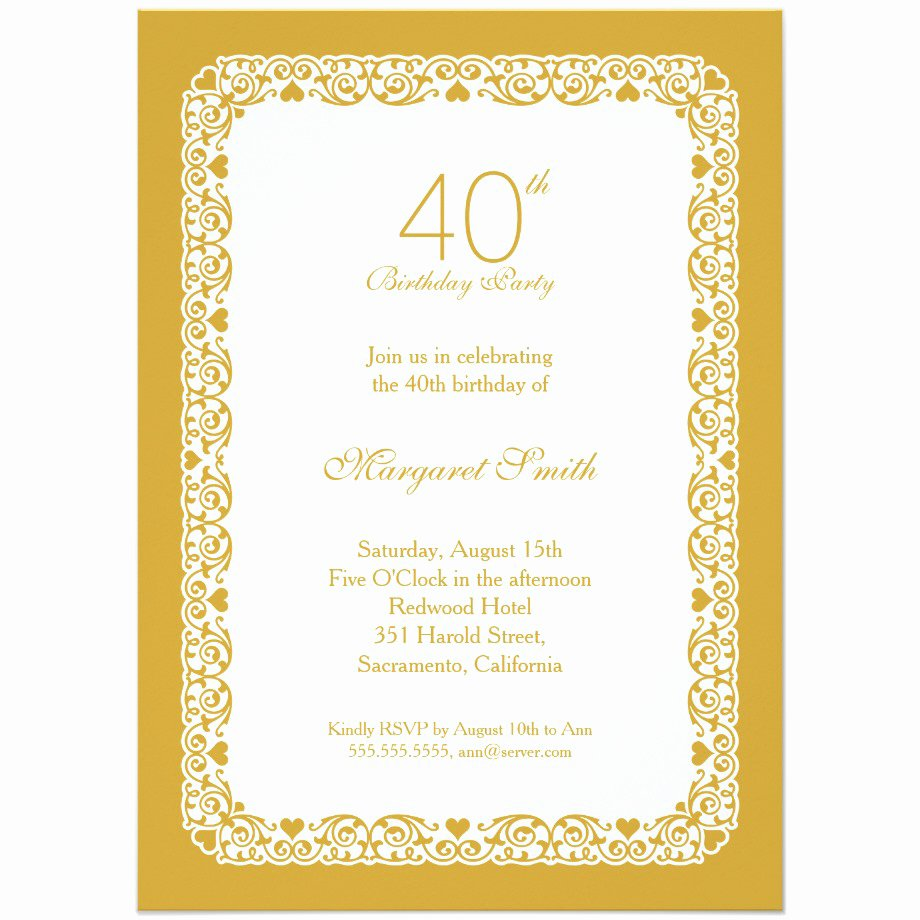 40th Birthday Party Invitations Wording – Bagvania Free