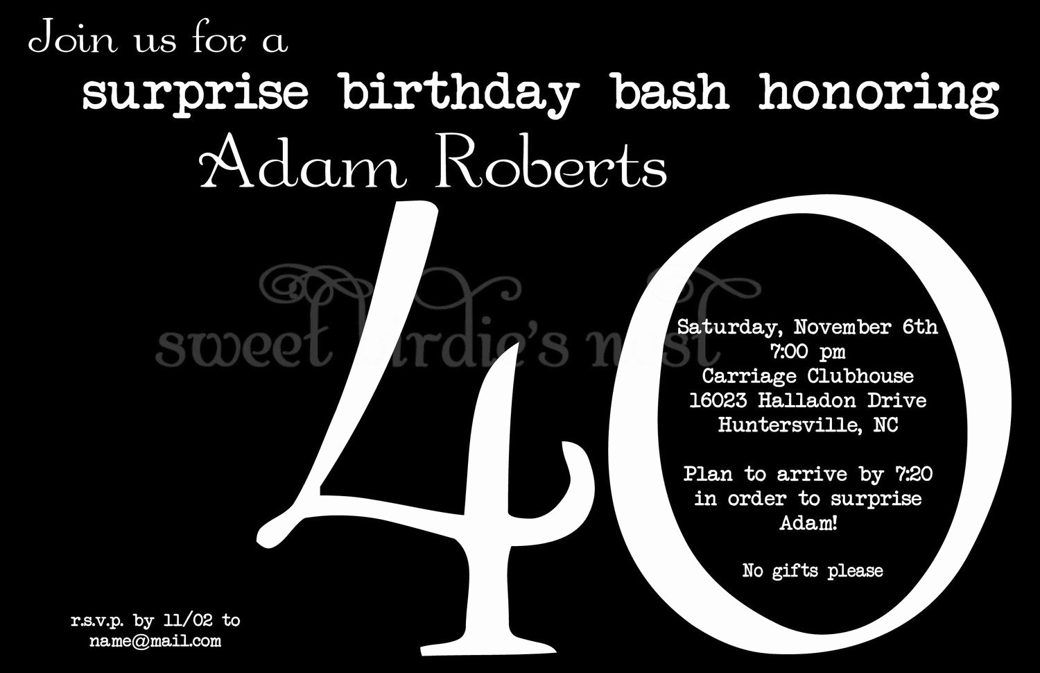 40th Surprise Birthday Party Invitations – Free Printable Birthday Invitation Templates – Bagvania