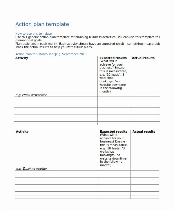 41 Best Templates Of Business Action Plan Thogati