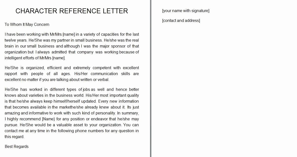 41 Free Awesome Personal Character Reference Letter