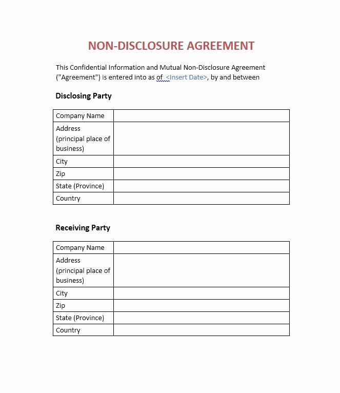 41 Free Non Disclosure Agreement Templates Samples