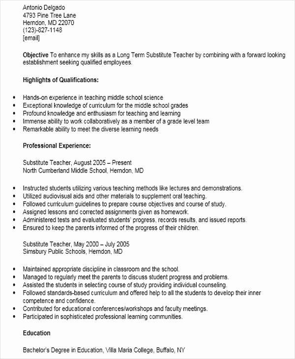Substitute Teacher Resume Job Description Best Resume