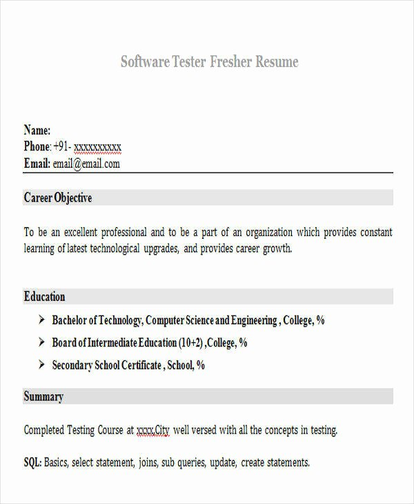 42 Professional Fresher Resumes